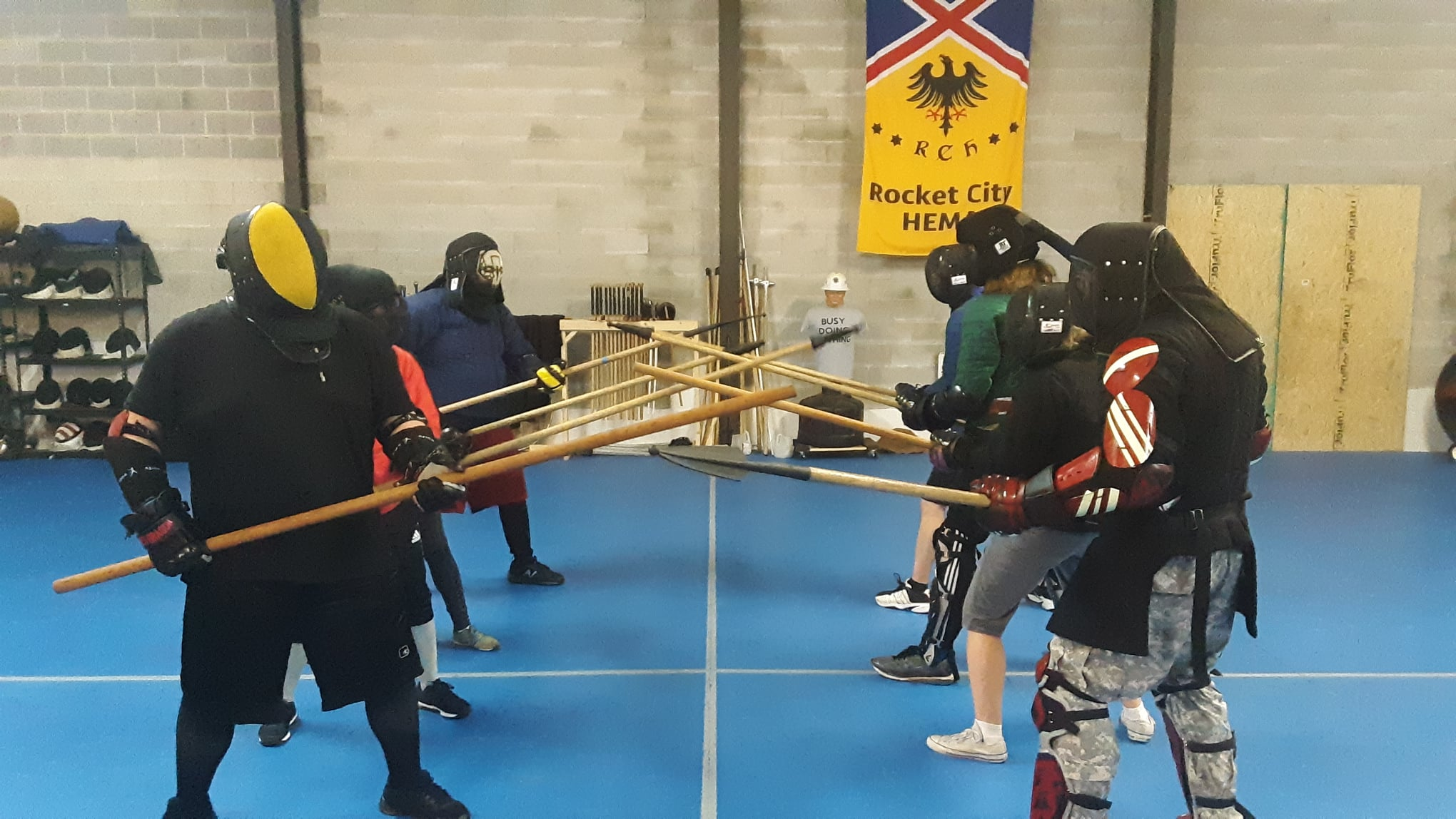 IMAGE: A spear melee during class